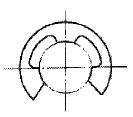 付図3 E形止め輪(2114)[ファスナばね(2100)、止め輪(2110)、サークリップ(2111)、C形止め輪(2112)、C形同心止め輪(2113)、E形止め輪(2114)、グリップ止め輪(2115)、円弧状ばね(3840)]