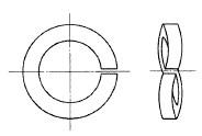付図5 ファスナばね(2100)、ばね座金(2120)、波形ばね座金(2121)
