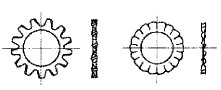 付図8 歯付き座金-外歯形(2124)、ファスナばね(2100)、ばね座金(2120)