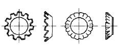 付図8 歯付き座金-皿形(2124)、ファスナばね(2100)、ばね座金(2120)
