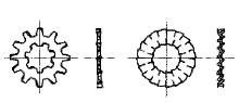 付図8 歯付き座金-内外歯形(2124)、ファスナばね(2100)、ばね座金(2120)