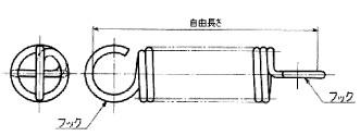 付図29 コイルばね(3200)、引張コイルばね(3220)、円筒コイルばね(3241)、フック(4221)、引張コイルばねの長さ(5523)