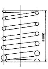 付図36 コイルばね(3200)、圧縮コイルばね(3210)、円筒コイルばね(3241)、テーパコイルばね(3245)、自由高さ(5521)
