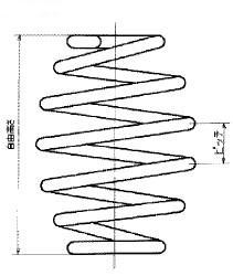 付図39 シートばね(2910)、コイルばね(3200)、圧縮コイルばね(3210)、たる形コイルばね(3244)、自由高さ(5521)、ピッチ(5537)