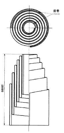 付図43 摩擦ばね(2930)、コイルばね(3200)、圧縮コイルばね(3210)、円すいコイルばね(3242)、竹の子ばね(3300)、自由高さ(5521)