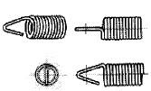 付図84 (g)Vフック(4225)[引張コイルばね端部(4220)、フック(4221)、丸フック(4222)、半丸フック(4223)、Uフック(4224)、Vフック(4225)、角フック(4226)、逆丸フック(4227)、斜め丸フック(4228)、絞り丸フック(4229)、側面丸フック(4230)、ねじ込みフック(4231)、ねじ込みフックプレート(4232)]